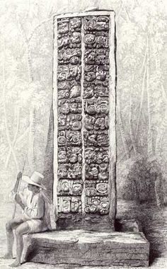 """Frederick Catherwood """"Hieroglyphs on the rear of a monument at Copan, Honduras, from volume I of 'Incidents of Travel in C"""""""
