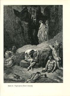 Gustave Dore Print /Bookplate 1948 Men in Hell Dante Virgil Divine Comedy #Realism