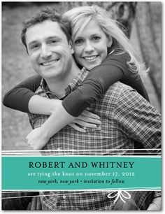 String Bow - Signature White Photo Save the Date Cards - Magnolia Press - Chartreuse - Green : Front