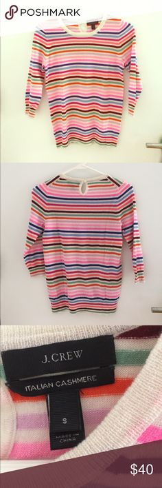 J. Crew Italian cashmere striped pullover Ultra lightweight J. Crew Italian cashmere striped pullover with quarter length sleeves. Super cute w white jeans and summer wedges! J. Crew Sweaters Crew & Scoop Necks