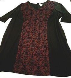 Catherines plus size 5x 34/36W Swing Dress Black Red trellis Texture Seam Roomy