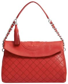 Tory Burch Fleming Foldover Red Leather Hobo Bag 6bc7ed4abc913