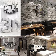 3D 10M Wallpaper Bedroom Mural Roll Modern Stone Brick Wall Background Textured