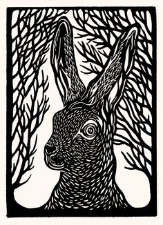 Hare Lino Print by www.anoukandthepencils.com