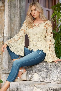 Boho Style | Women's Natural Bell-Sleeve Floral Crochet sweater by Boston Proper.
