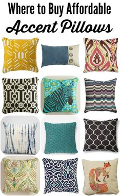 "These are all gorgeous! ""THIS IS SO HELPFUL! Great list of where to buy affordable throw pillows by Designer Trapped in a Lawyer's Body! Affordable Rugs, Couch Pillows, Accent Pillows, Cheap Throw Pillows, New Living Room, Textiles, Pillow Design, Chair Design, Design Design"