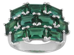 4.00ctw Emerald Cut Lab Created Emerald Sterling Silver Ring