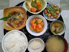 Typical Japanese home meal