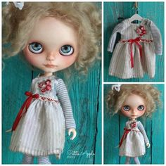 Blythe doll outfit *Bouquet rouge* OOAK vintage style embroidered dress