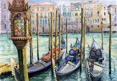 Italy Venice Lamp by Yuriy Shevchuk ~ watercolor gondolas