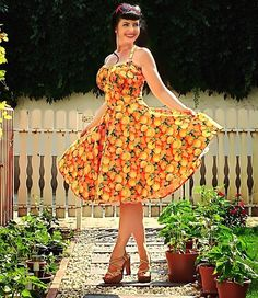Pinup dress ' Valencia dress in Sunny Oranges' fruit rockabilly dress Florida Events, Orange Aesthetic, Orange Fruit, Pin Up Dresses, Valencia, Pinup, Tea Party, Sunnies, Trending Outfits