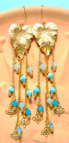 Earrings created by me - Raw Brass Leaves, Chain & Charms w' Swarovski Crystals - SOLD.