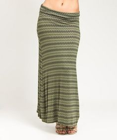 Loving this Olive Stripe Maxi Skirt on #zulily! #zulilyfinds