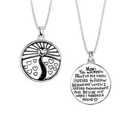 """A beautiful and inspiring necklace for mom! This sterling silver pendant is inscribed with; """"Mom, You Walked In Front Of Me When I Needed To Follow, Behind Me When I Needed Encouragement And Beside Me When I Needed A Friend"""". Great Mothers Day Gifts, Perfect Mother's Day Gift, Sterling Silver Pendants, Encouragement, Pendant Necklace, Mom, Beautiful, Jewelry, Jewlery"""