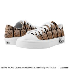 STONE WOOD CARVED SMILING TIKY MASK Low-Top SNEAKERS