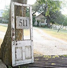 Old door used as an address sign