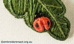 Detail of Ladybug from Stumpwork Panel with Heartsease and Honesty Seeds by Lorna Loveland
