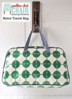 Retro weekender bag pattern.  $7.50   retro-travel-bag-sewing-pattern-pdf