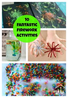 10 fantastic fireworks activities for kids to enjoy at Halloween, Bonfire Night, Christmas and New Years Eve. Creative Activities For Kids, Summer Activities For Kids, Autumn Activities, Creative Play, Science Activities, Preschool Activities, Fireworks Craft For Kids, Art For Kids, Crafts For Kids