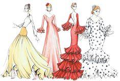Patrones Moda Flamenca - Patrones trajes de gitana, patrones flamenca Fashion Sketches, Style Me, Mermaid, Costumes, Illustration, Inspiration, Spain, Design, Dresses