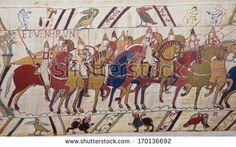 BAYEUX, FRANCE - FEB 12: Detail of the famous Bayeux Tapestry depicting the Norman invasion of England in the 11th Century on February 12, 2013.