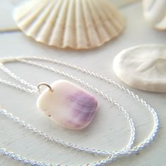 Shell Necklace || Sea Shell Jewelry || Sterling Silver Chain || Wampum Necklace  by RedIslandSeaGlass on Etsy Shell Pendant, Pendant Necklace, Seashell Painting, Seashell Jewelry, Sea Glass Art, Shell Necklaces, Sterling Silver Chains, Sea Shells, Great Gifts