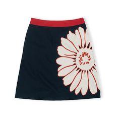 Boden Fun Skirt ($69) ❤ liked on Polyvore featuring skirts, navy flower, flower skirt, floral knee length skirt, floral skirt, knee length a line skirt and embroidered skirt