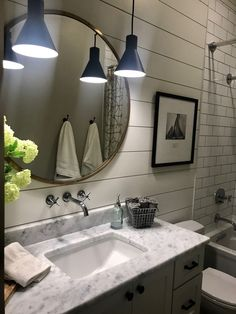 Modern farmhouse bathroom, sw agreeable gray, brass mirror, shiplap, sw alabaster