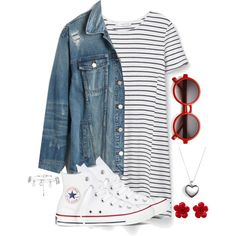 A fashion look from February 2016 featuring short sleeve dress, distressed jean jacket y white high tops. Browse and shop related looks. Dress Outfits, Girl Outfits, School Outfits, Dresses, Really Cute Outfits, Tumblr Outfits, Dress Codes, Types Of Fashion Styles, Jeans Style