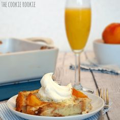 A beautiful, delicious Peaches & Cream Overnight French Toast. Don't you just love these make ahead dishes? Maybe it's just me, I know it still takes the same amount of time, but when I only have to pop it in the oven the next day, it makes it extra special.   #breakfast #brunch #cinnamon #dark brown sugar #french bread #heavy cream #make ahead #peaches #vanilla cool whip