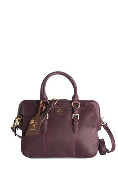Dressy Day Bag. Elevate your ensemble with the classic silhouette of this plum-hued satchel by UK-based brand Nica! #gold #prom #modcloth