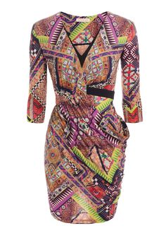 Raj Patchwork Jersey Draped V-Neck Dress Matthew Williamson