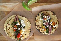 Flank Steak Tacos with Peach Salsa | BourbonAndHoney.com