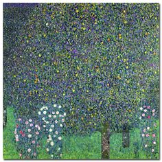 "Trademark Art ""Roses Under the Trees, 1905"" by Gustav Klimt Painting Print on Wrapped Canvas & Reviews 