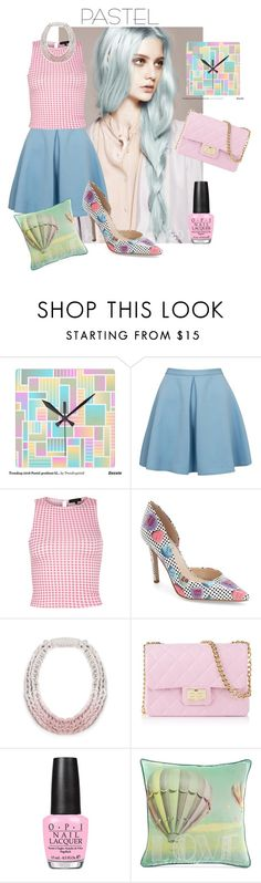 """""""Pastel trend 1"""" by eereich ❤ liked on Polyvore featuring moda, Closet, Jessica Simpson, Saloukee, Design Inverso, OPI, Graham & Brown, women's clothing, women y female"""
