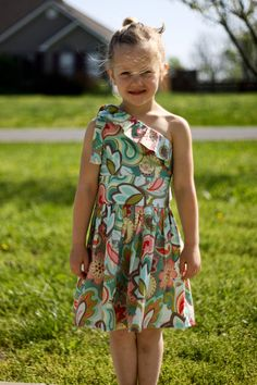 Little Girl Dress Custom Boutique, Ruffled One Shoulder Dress --Floral, Paisley Turquoise Red Pink Girl's Dress Size 7 8 9 10. $40.00, via Etsy.