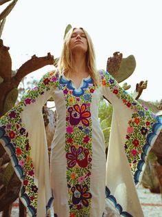 Wedding Dress Bohemian w/Mexican Embroidery