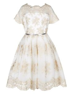 Monsoon Big Girls' Jullianna Dress Size 13 Years Gold