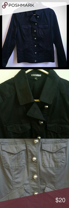 Button Up Jacket from Express - Large Black twill button up jacket from Express. Lightweight. Silver dome buttons.    Worn once. Express Jackets & Coats