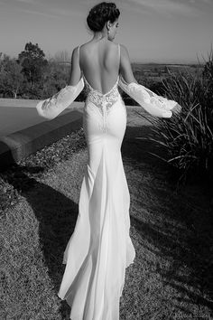 elihav sasson wedding dress 2015 attached long sleeves lace low cut back sheath bridal gown back