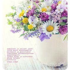 Kesäkukkakimppu Finnish Words, Peace Of Mind, Music Quotes, Messages, My Love, Flowers, Cards, Photography, Inspiration