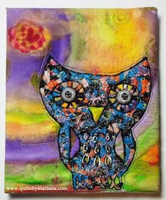 """Artistic Artifacts in Alexandria, VA. is opening this Saturday 18th at 3:00 pm its latest art challenge exhibit called """"Metallics"""". The challenge requested submissions of 8"""" x 10"""" mixed media creations celebrating the shine of metallics.  More than 90 entries were received including my """"Metallic Owl"""". There are art quilts, collages, jewelry and more in a stunning range of styles, colors and techniques. I already saw some of the pieces and they are amazing!"""