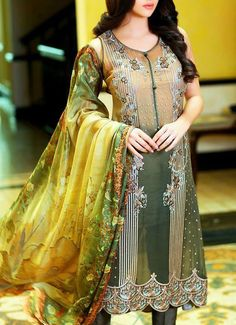 Buy Dull Peach/Green Embroidered Chiffon Dress by Embellish 2015.