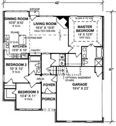 Elegant One Level Southern House Plan - floor plan - Main Level Southern House Plans, Country House Plans, Best House Plans, Small House Plans, House Floor Plans, Starter Home Plans, Vaulted Ceiling Bedroom, Open Kitchen And Living Room, Traditional House Plans