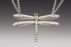 large dragonfly necklace made from silver spoons
