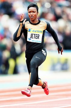 """Carmelita Jeter: Track 0 Age: 32 Hometown: Los Angeles Speed queen: The fastest woman alive meters in seconds!) is chasing the 1988 world record. """"I don't feel pressure,"""" the single runner tells Us. """"I have my eye on the prize Carmelita Jeter, Olympic Athletes, Olympic Team, The Sporting Life, I Love To Run, Celebrity Bodies, Eyes On The Prize, Team Usa"""