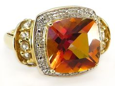 An Absolute Beauty!! ON SALE TODAY!!  Azotic Twilight Mystic Salmon Topaz Ring set in 14k yellow gold   http://donnatsjewelry.com/Gold-Rings-Gemstone-Rings/c64_70/p4774/Azotic-Twilight-Mystic-Salmon-Topaz-Ring-14k-yellow-gold/product_info.html #azotic twilight mystic salmon topaz #colored gemstone and diamond jewelry #mystic topaz and gold rings #donnatsjewlery #on sale in november