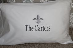 Set of (2); PRIORITY Ship Included; MONOGRAMMED Luxury Pillow Cases by EmbroideryMark on Etsy