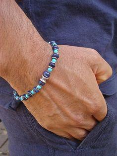 Men's Minimalist Spiritual Friendship Protection Bracelet with Semi Precious Lapis Lazuli, Turquoise, Hematite - David Beckham Bracelet
