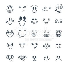 Set of hand drawn funny faces. Cute cartoon emotional faces royalty-free stock vector art